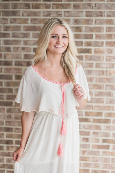 Off white, on-shoulder, boho maxi - Harper dress