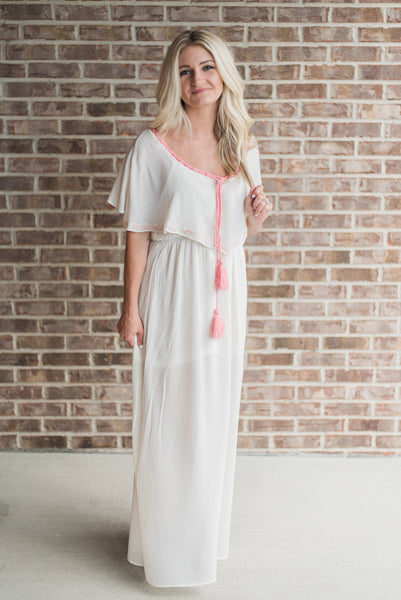 Off white, on-shoulder, full-length detail, maxi - Harper dress