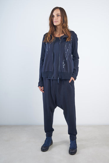 RUNDHOLZ BLACK LABEL DROP CROTCH TRACK PANT NAVY