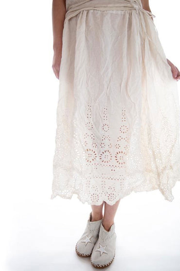 MAGNOLIA PEARL YOU ARE MY SUNFLOWER SKIRT ANTIQUE WHITE