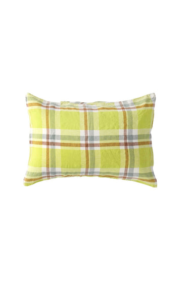SOCIETY OF WANDERERS CITRON CHECK PILLOW CASE SET
