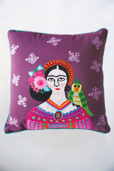 Frida Kahlo Green Parrot Cushion