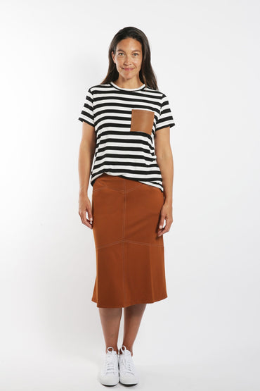 SABATINI STRIPE T-SHIRT W/ LEATHER POCKET