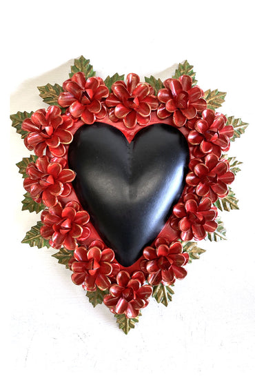MEXICAN FOLK ART BLACK TIN HEART W/ RED FLORAL BORDER