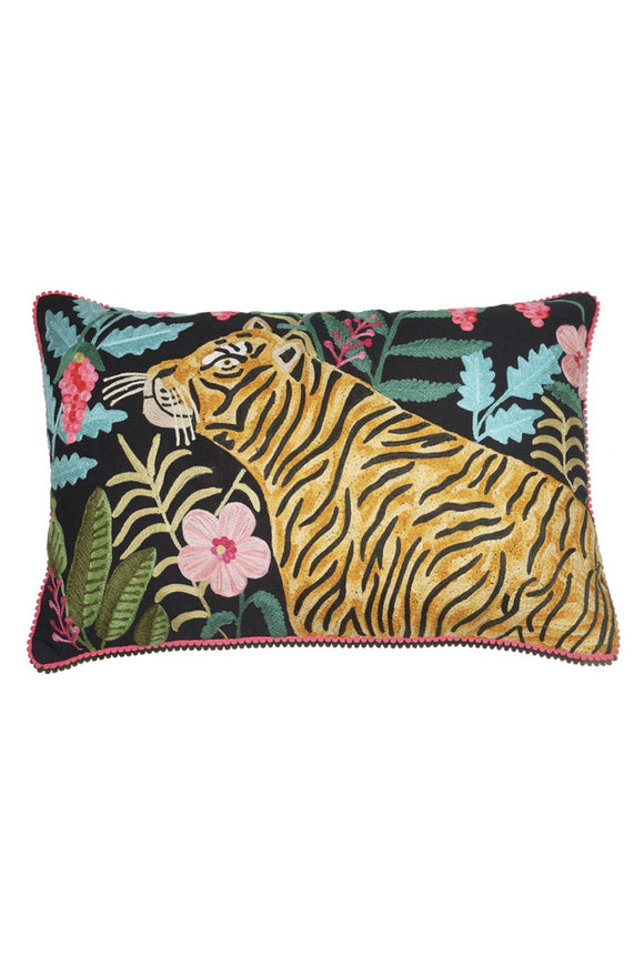 HUNTING TIGER LUMBAR CUSHION BLACK