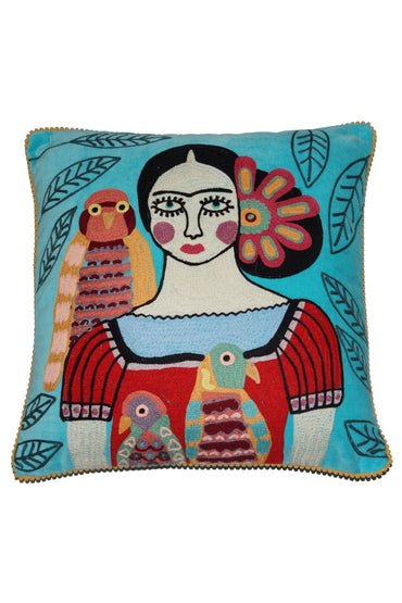 RUBY STAR TRADERS FRIDA WITH BIRDS BLUE VELVET CUSHION 45 X 45CM