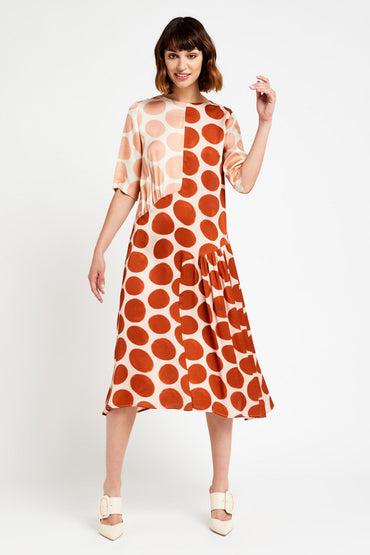 OTTOD'AME VISCOSE MIDI DRESS WITH TWO-TONE MACRO POLKA DOTS