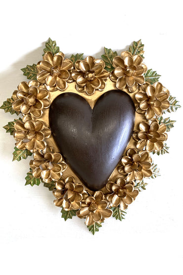 MEXICAN TIN HEART WITH BROWN W/ GOLDEN FLOWER BORDER
