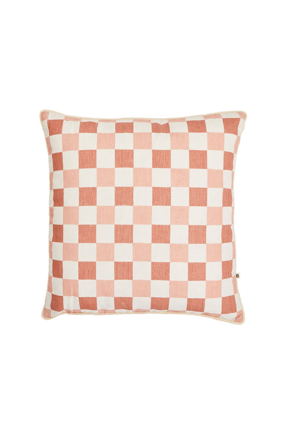 BONNIE AND NEIL CHECKERS CUSHION BLOSSOM 50CM