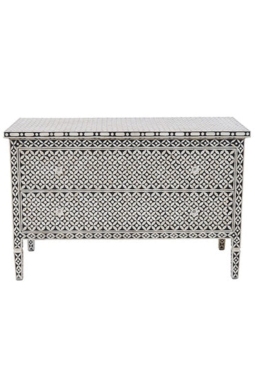BONE INLAY GEOMETRIC 2 DRAWER CHEST BLACK/BONE