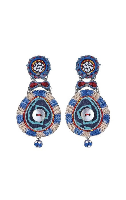 AYALA BAR 7547 EARRING BLUE/WHITE/RED BUTTON