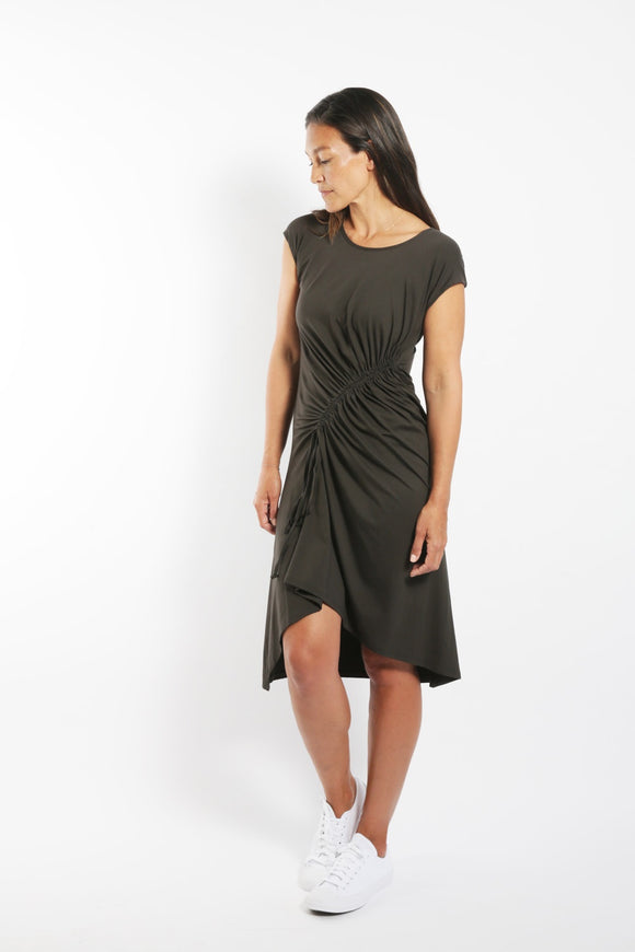 SABATINI GATHER-FRONT DRESS KHAKI
