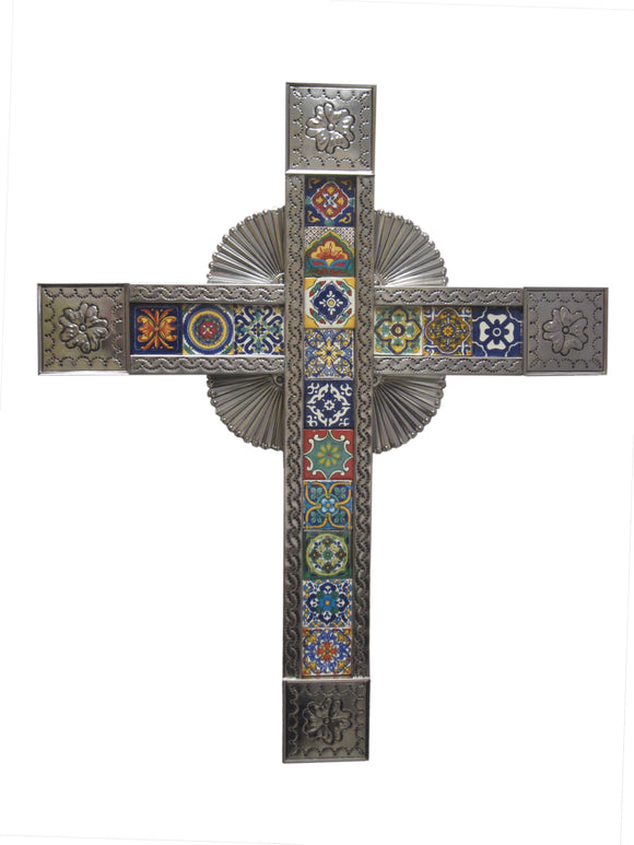 MEXICAN LARGE TIN CROSS WITH ASSORTED TILES