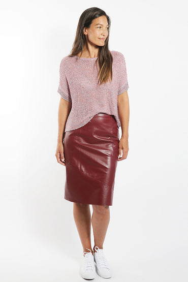 SABATINI A-LINE LEATHER PENCIL SKIRT PORT