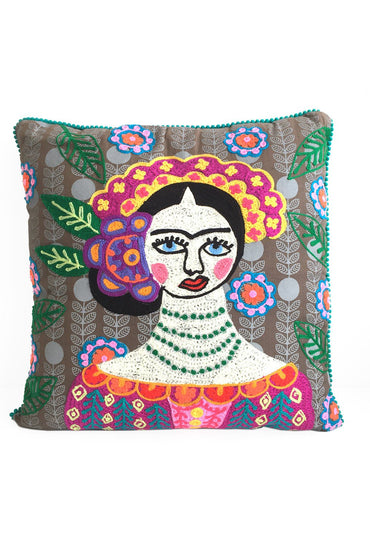 Frida Kahlo Grey Cushion