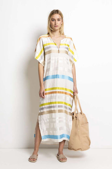 HUMANOID SAIDY STRIPE DRESS IVORY
