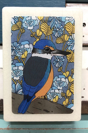 LOST & FOUND ART CO MEDI WOODBLOCK SACRED KINGFISHER