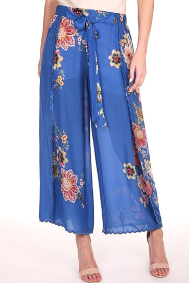 JOHNNY WAS VIOLA CROPPED WRAP PANT BLUE