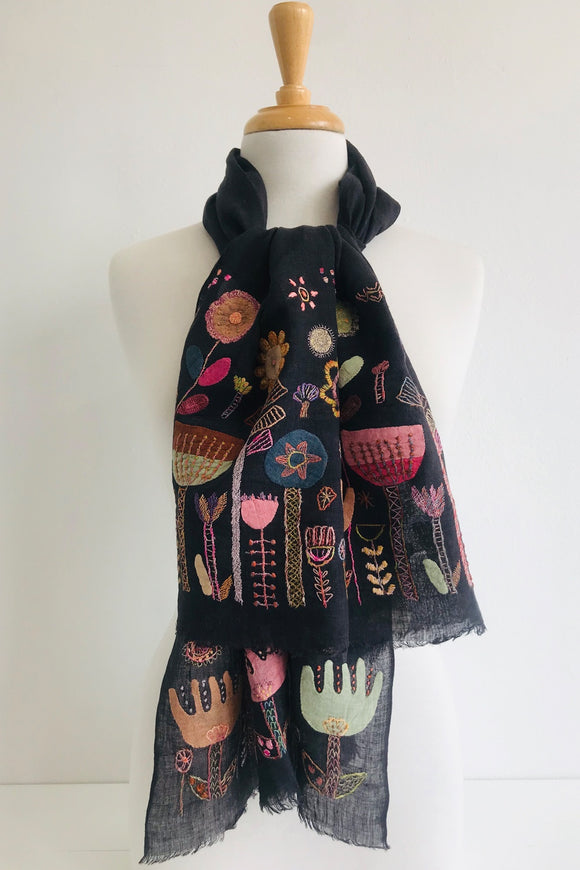 SOPHIE DIGARD LIBERTES COLLECTIVES EMBROIDERED SCARF 60x140CM BLACK