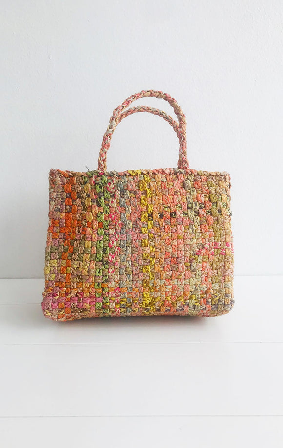 SOPHIE DIGARD SMALL DOUBLE WOVEN RAFFIA BASKET