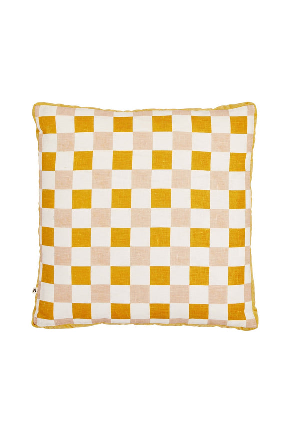 BONNIE AND NEIL CHECKERS CUSHION GOLDEN 50CM