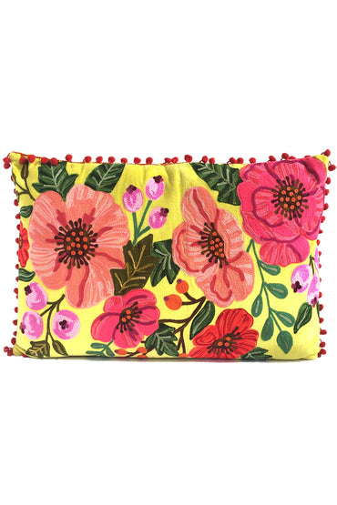 RUBY STAR TRADERS HIBISCUS GARDEN 40 X 60 CUSHION YELLOW