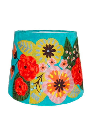 RUBY STAR TRADERS FLORAL VELVET TAPERED SHADE AQUA