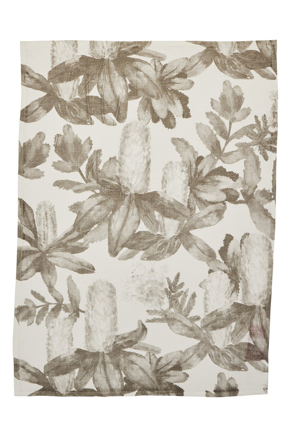 BONNIE & NEIL TEA TOWEL NATIVE GREY 70x50CM