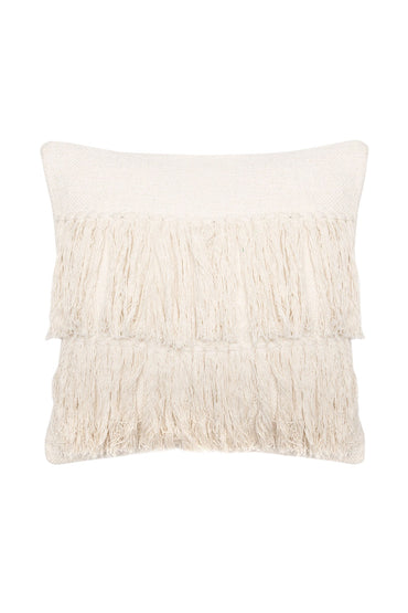 LANGDON BANGS FRINGED CUSHION WHITE