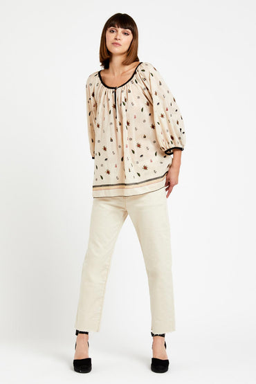 OTTOD'AME LONG SHIRT WITH CONTRASTING TRIMS