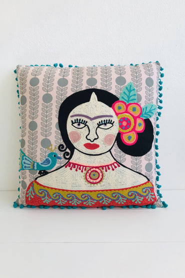 Frida Kahlo Blue Bird Cushion