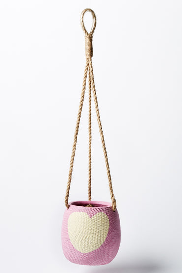 JONES & CO HANGING HEART POT LAVENDER