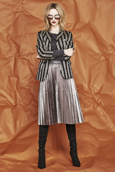 TRELISE COOPER PLEASED TO PLEAT YOU PEWTER SKIRT