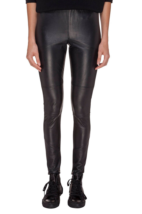 SABATINI LEATHER PONTI PANT BLACK