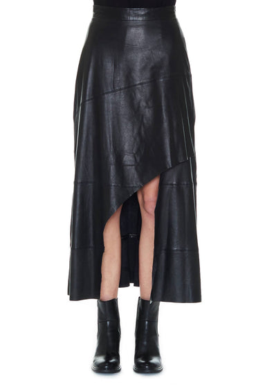 SABATINI ASYMMETRIC LEATHER SKIRT BLACK