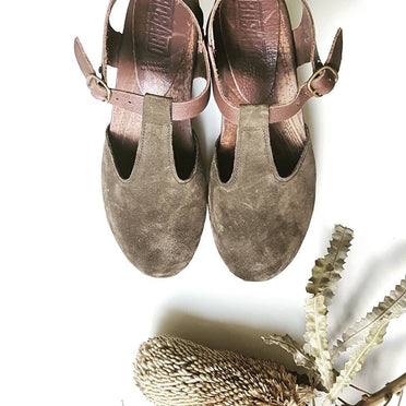 BOSABO Sandal with Flexi Wooden High Heel-Khaki
