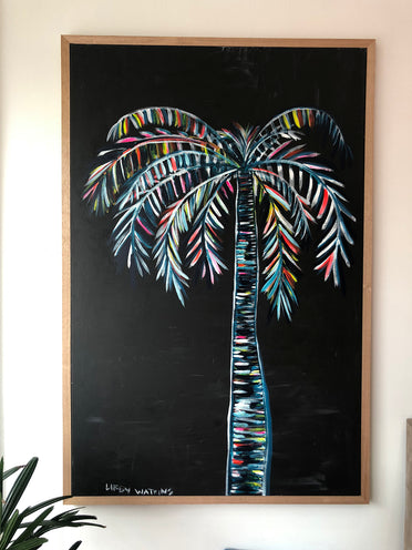 LIBBY WATKINS Original Hand Painted Contrast Ink Palm on Canvas