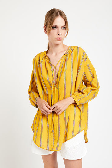 OTTOD'AME FLARED COTTON BLOUSE YELLOW