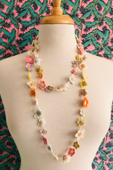 Sophie Digard flower beat long crocheted necklace