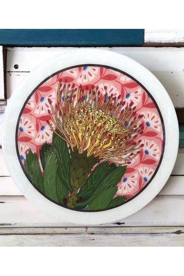LOST & FOUND ROUNDY WOODBLOCK- PIN CUSHION PROTEA