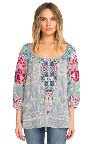 JOHNNY WAS - TRISTA BLOUSE LIGHT BLUE