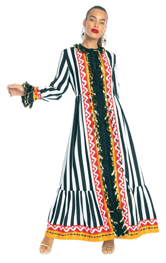 BONITA THE TRIBAL LONG SLEEVE RUFFLE DRESS