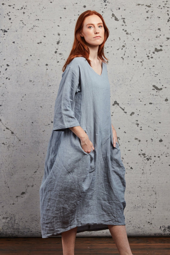 MUSE FLO LINEN DRESS SKY BLUE