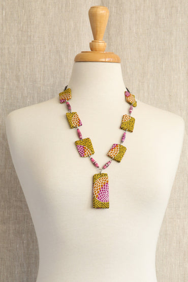 AFRI BEADS NEW STYLE CLOTH NECKLACE - YELLOW