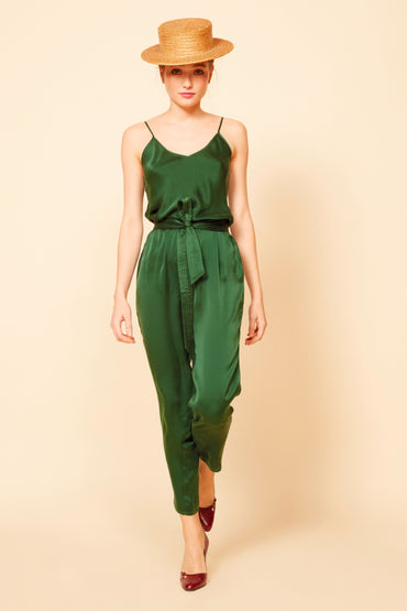 MES DEMOISELLES AMY FOREST GREEN CAMISOLE
