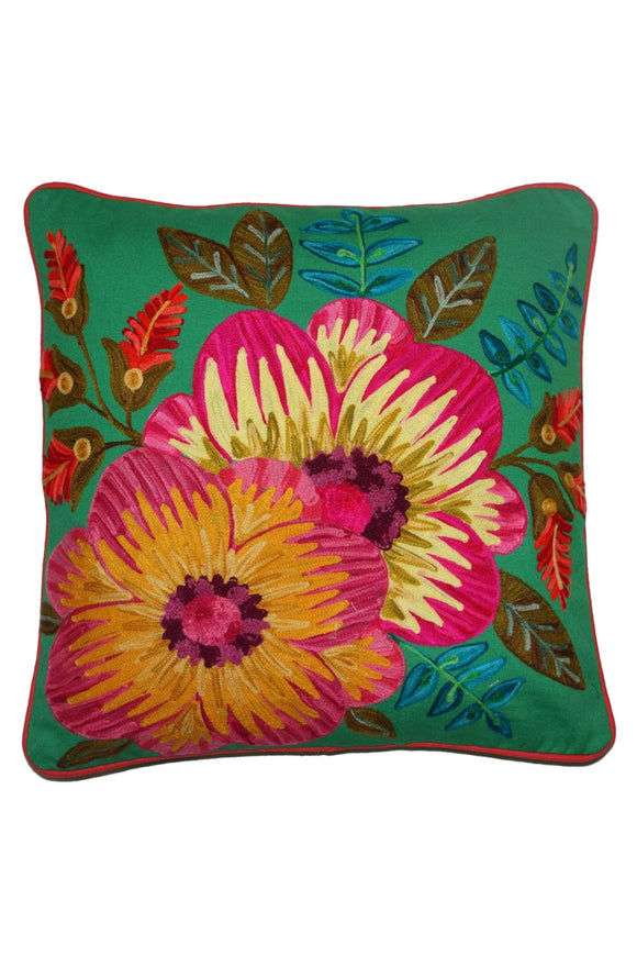 RUBY STAR TRADERS HIBISCUS CANVAS CUSHION 45 X 45CM EMERALD