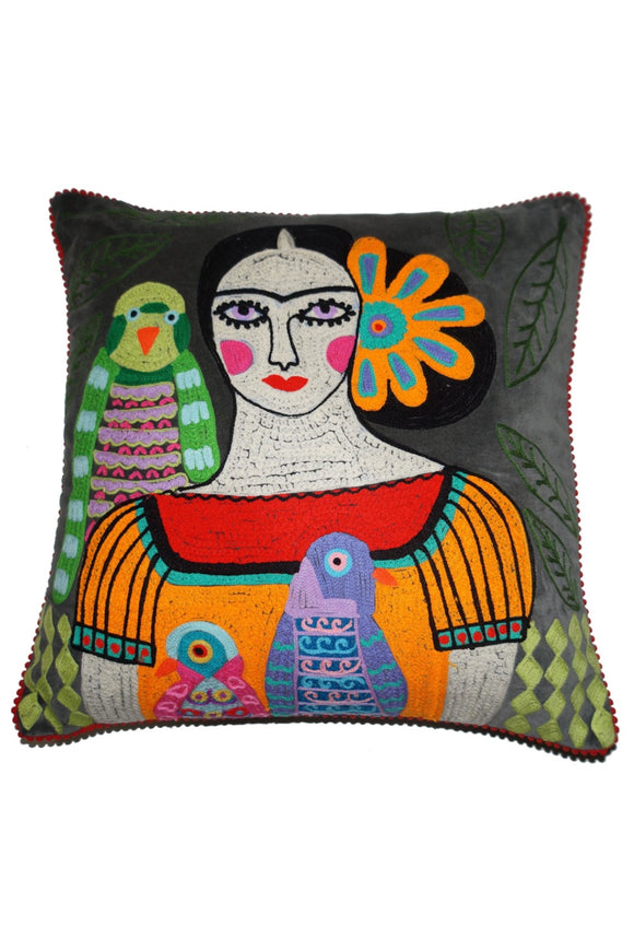 RUBY STAR TRADERS FRIDA WITH BIRDS GREY VELVET CUSHION 45 X 45CM