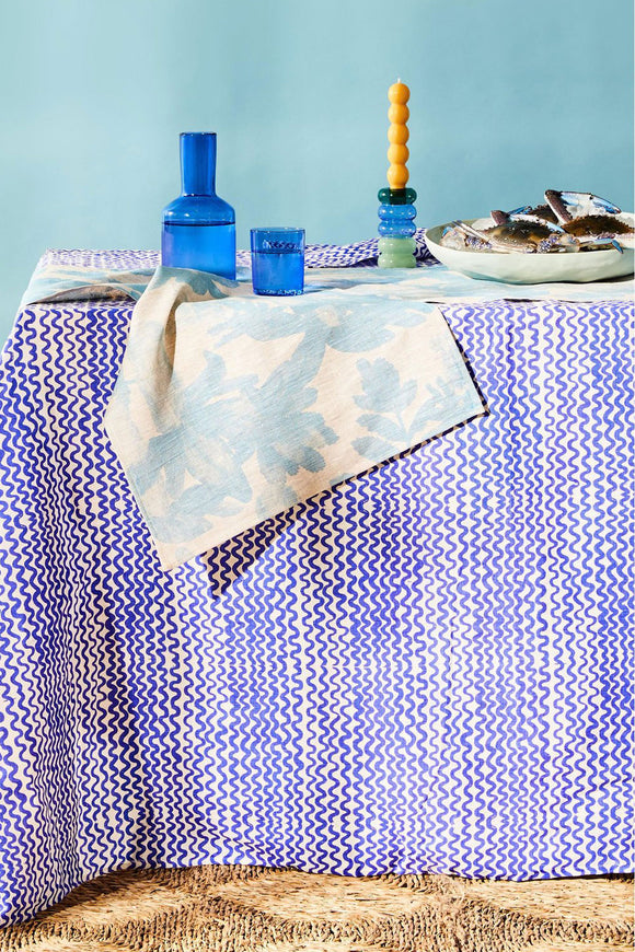 BONNIE & NEIL NATIVE TABLE RUNNER LIGHT BLUE