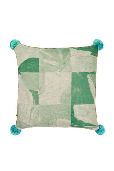 BONNIE AND NEIL PATCHWORK CUSHION GREEN 60CM