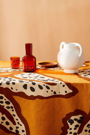BONNIE & NEIL SPOTTED BEGONIA TABLECLOTH MUSTARD 200x140CM